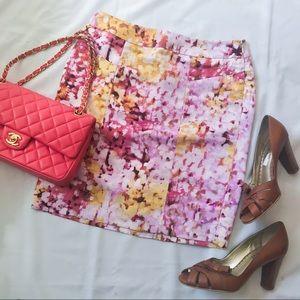 Ann Taylor Floral Purple Lilac Skirt 0P 0 Petite